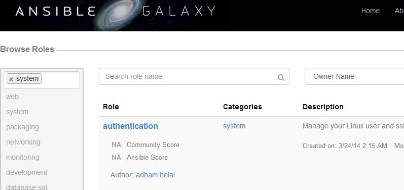 playbookの共有サイト - ansible galaxy
